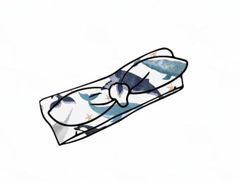 Watercolour Whales Knot Headband