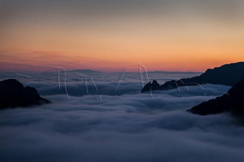 Mer de nuages sur le massif de l'Espinouse