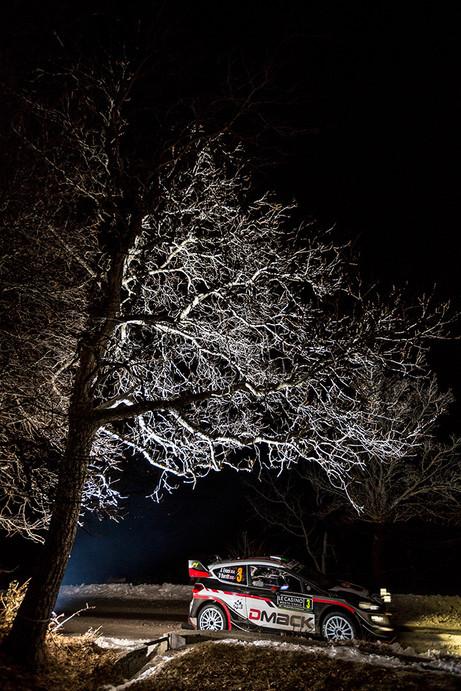 WRC, Rallye Monte Carlo, Ford Fiesta WRC, Elfyn Evans, Shakedown, nuit, arbre