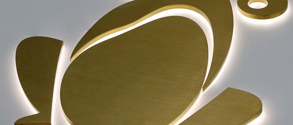 Waterproof 304 golden SUS surface backlit led letters for commercial logo