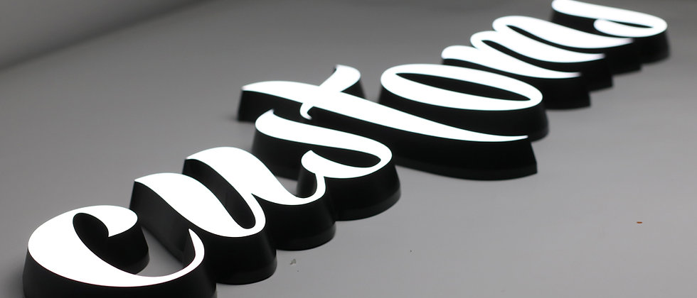 Dimensional solid acrylic light up letters for store/shop/office signs