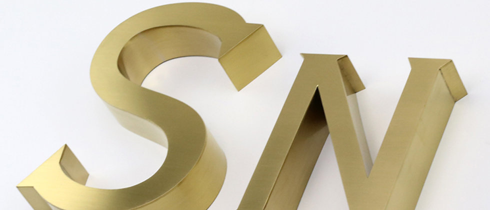 Golden brushed mirror stainless steel channel letters for outdoor alphabets sign
