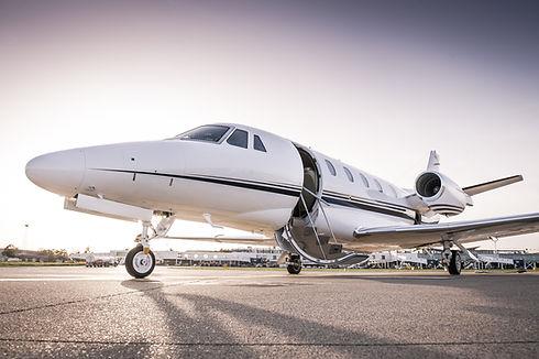 Luxury business jet ready for boarding.j