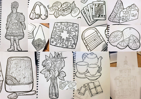 Original sketches for all the items of the final design.