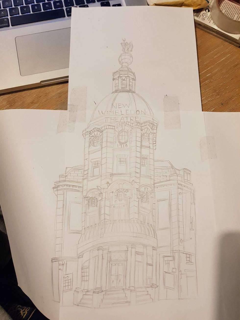 Original sketch of New Wimbledon Theatre.