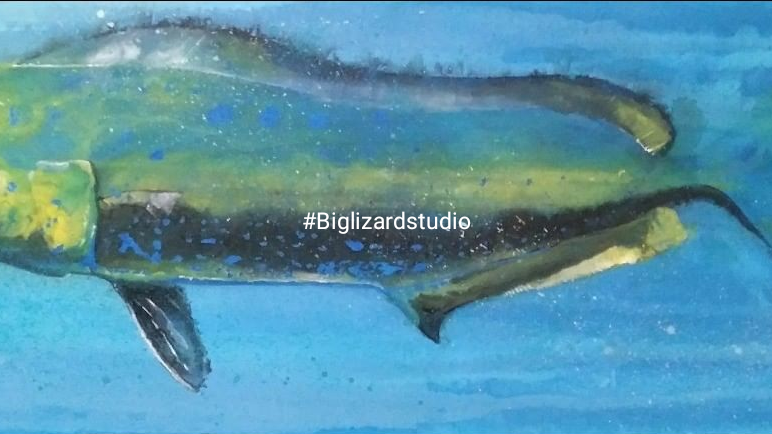 """""""Dolphinfish"""" 12 x 36 Acrylic on stretched canvas"""
