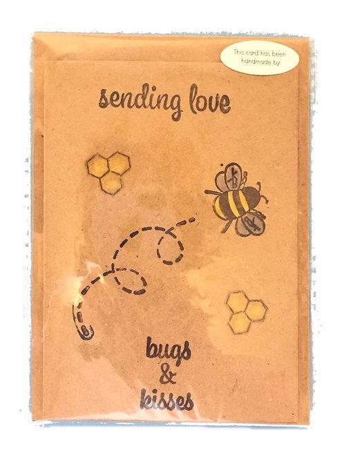 Sending love bee card