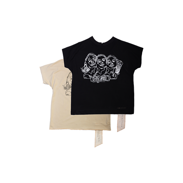 Handmade CALYPSO TEE MAVRO Tshirt SCHWARZ PILLOS BLACK FRONTPRINT CALYPSO limited