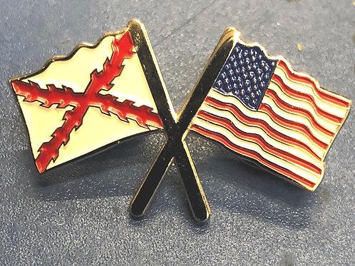 Cross / America Flags Enamel Pin
