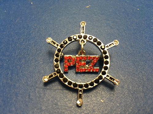 Ships Wheel Black/ Red Bling Pin