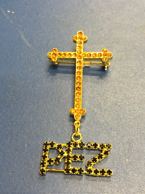 Black Cross Bling Pin