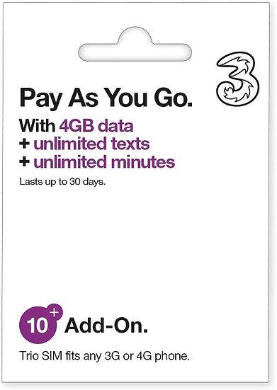 3 Pay As You Go Sim Card