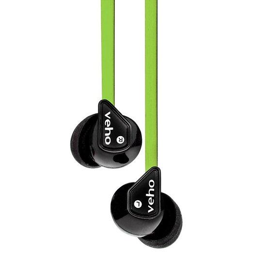 Veho Z-1 In-Ear Headphones Anti Tangle Noise Isolating- Green