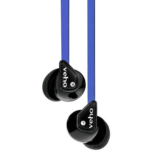 Veho Z-1 In-Ear Headphones Anti Tangle Noise Isolating- Blue