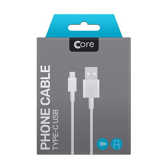 3 Metre Core USB-C Cable