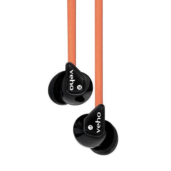 Veho Z-1 In-Ear Headphones Anti Tangle Noise Isolating- Orange