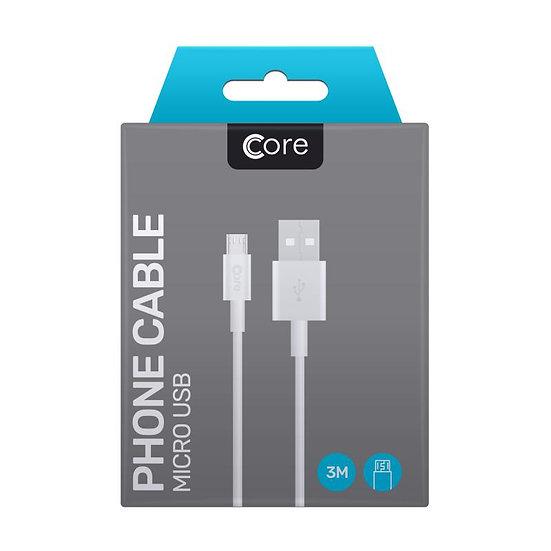3 Metre Core Micro USB Cable