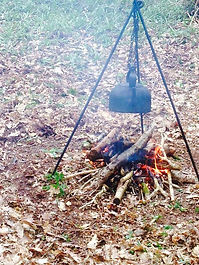 We heat our food and water by first building our own fires!