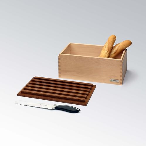 LEGNOART - Boite à pain et planche à découper Frêne Massif Foncé