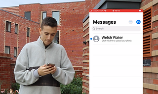 Customer receiving the photo upload link from Welsh Water