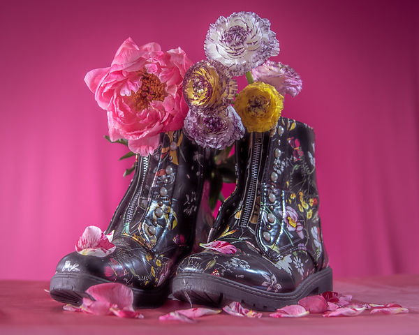 photo-of-flowers-on-shoes-against-pink-b