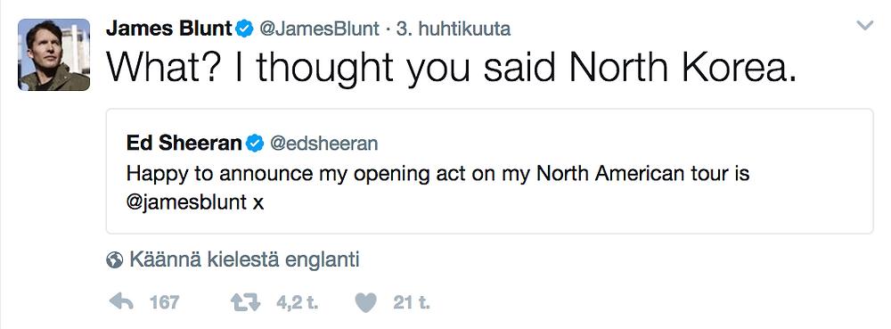James Blunt on Twitter.