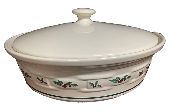 "Longaberger 9"" Holly Dish w/ Lid"