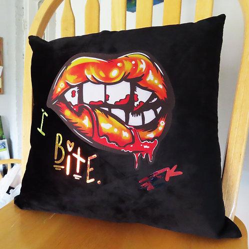 I Bite Lip (Orange)  - 18x18 Velvet Pillow