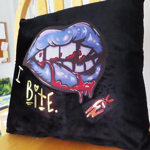 I Bite Lip (Blue)  - 18x18 Velvet Pillow