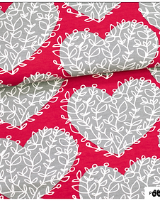 PaaPii Design Lempi Hearts Grey Organic Cotton French Terry Knit Fabric
