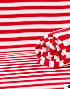 PaaPii Design Red and White Striped Organic Ribbing Organic Cotton Elastane Cuff