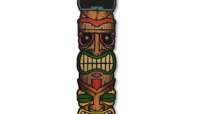 Wooden Tiki Face Totem