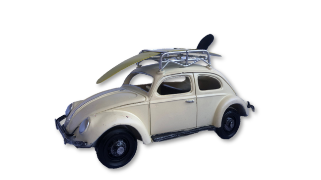 Car with Surfboard