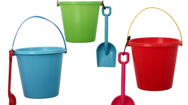 Beach Bucket with Spade - Assorted Colours