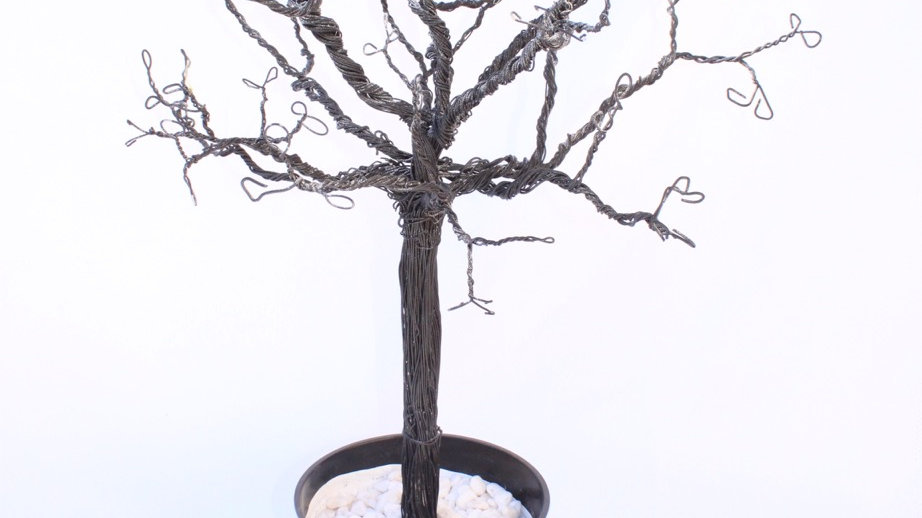 Black Wire Tree with Pot
