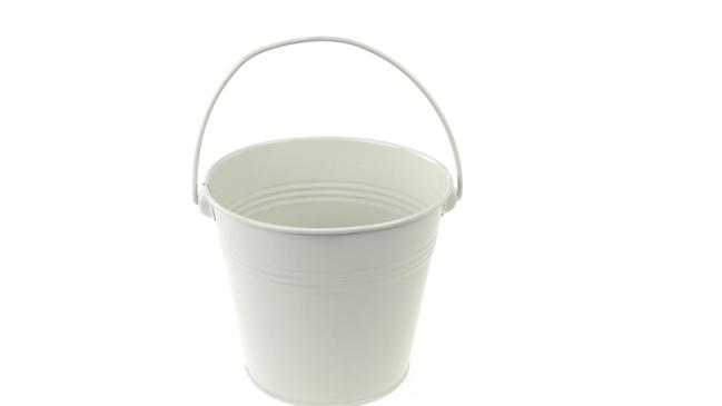 Metal Tin Pot - White