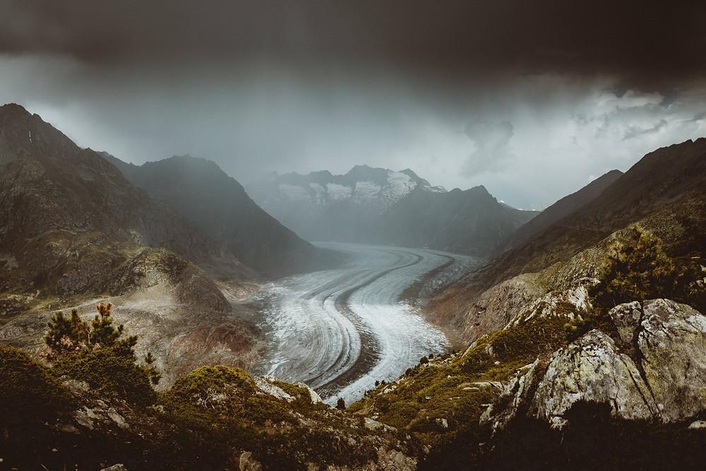Aletsch glacier in clouds | Switzerland