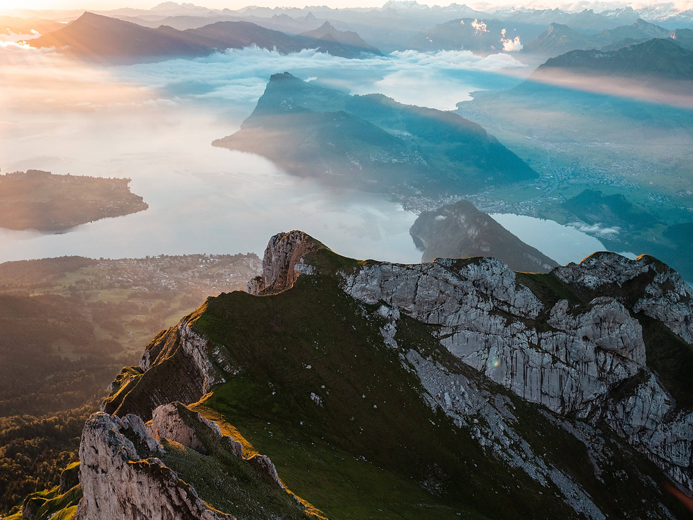 View from mount Pilatus over lake Lucerne