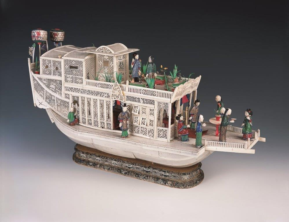 Pleasure boat with painted figures