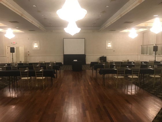 Two Speaker sound system with an 8ft Tripod screen and projector in West Orange, NJ.   All set by 7: