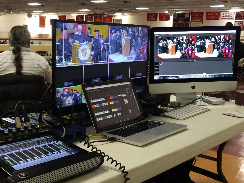 Here's a picture I like.  We've been Live Streaming Caldwell University's Commencement Ceremony - 4 years running.  Seems each year we've changed up the equipment a bit.
