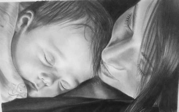 Drawing of woman and newborn
