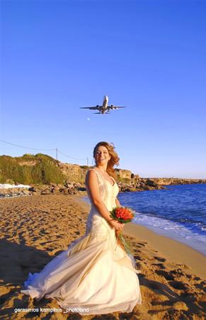 bride on skies