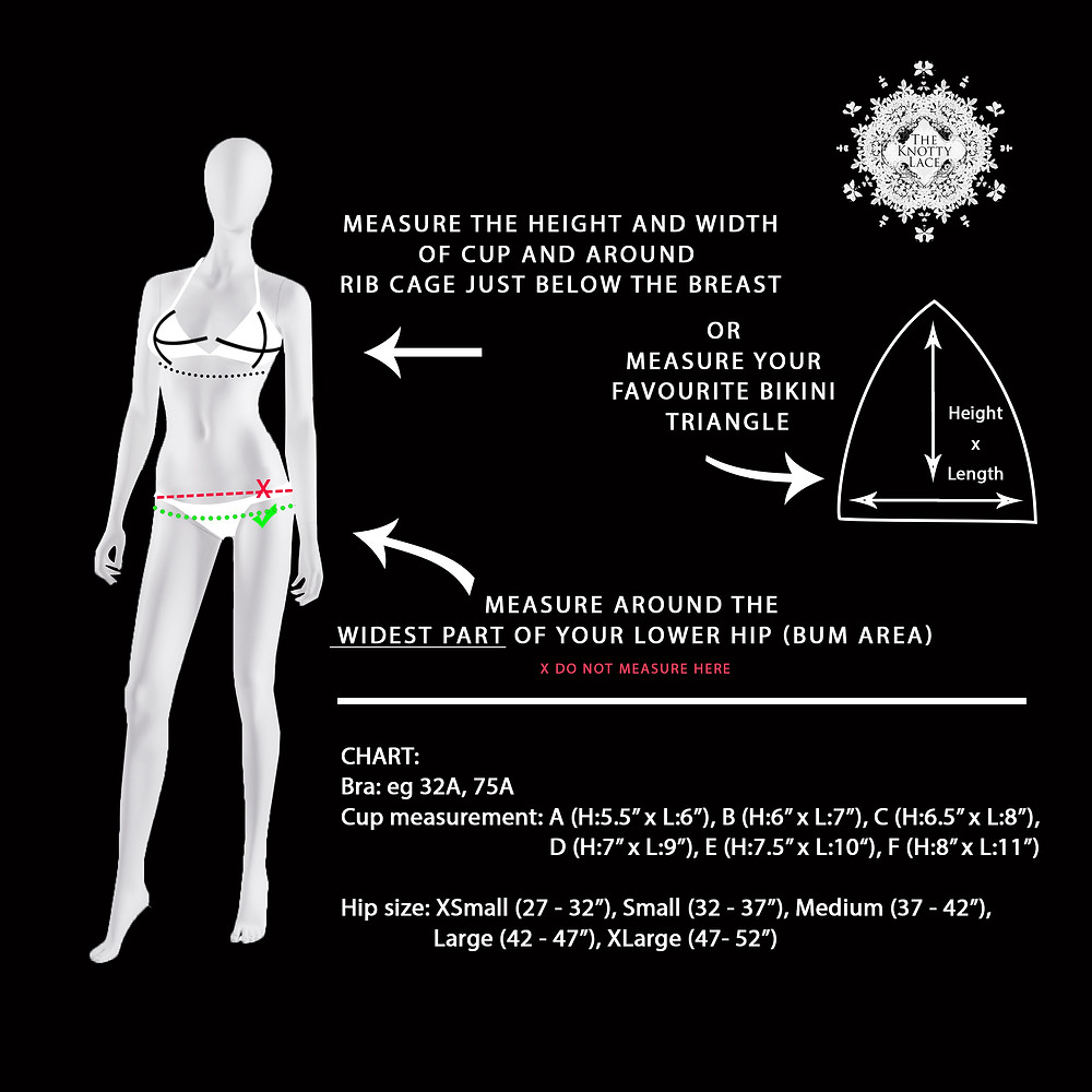 measurement guide for bikini, crochet bikini measurements