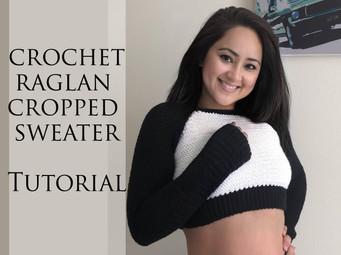 The Raglan Cropped Sweater using Herringbone Stitches | Free Video Pattern Tutorial