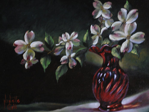 Dogwood in a Red Vase