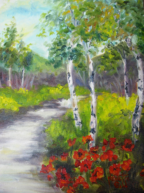 Birches and Poppies