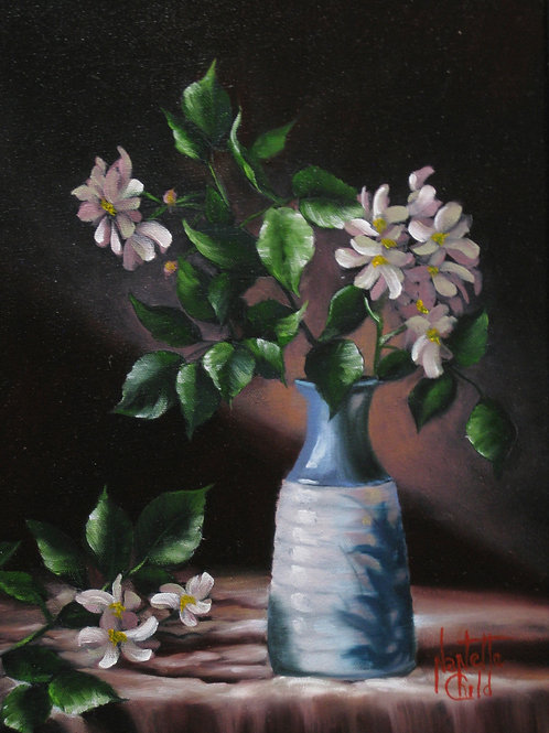 Wild Roses in a Blue Vase
