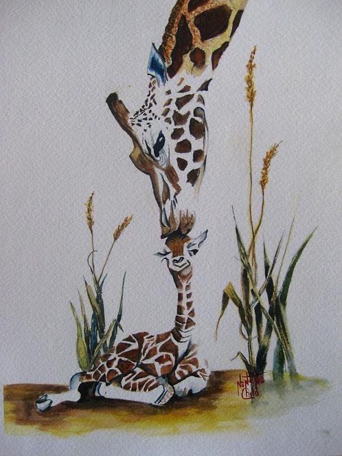 Giraffe Mom with Baby