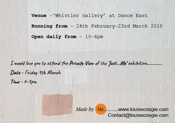 Just ... ME exhibition details - designed by me and printed by 'Printing for Pleasure'